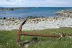 Rusty anchor on the beach at Western Brook, Newfoundland, Canada
