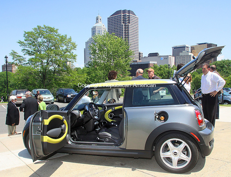 HARTFORD CT.-21 MAY 2010-052110DA03- A look at a BMW Mini E Hybrid Plug In which is 100% electrical that was on display at the first Electric Vehicles (EV) Forum held at the Legislative Office Building in Hartford Friday. The event was open to the public and included a display of new EVs from major automakers. <br /> Republican-American  Darlene Douty