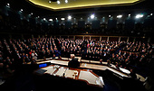 President Donald Trump looks towards Republicans giving him a standing ovation as Democratic members of Congress remain seated during U.S. President Donald Trump delivers his State of the Union Address to a joint session of the U.S. Congress at the Capitol in Washington, U.S. January 30, 2018.  <br /> Credit: Jim Bourg / Pool via CNP