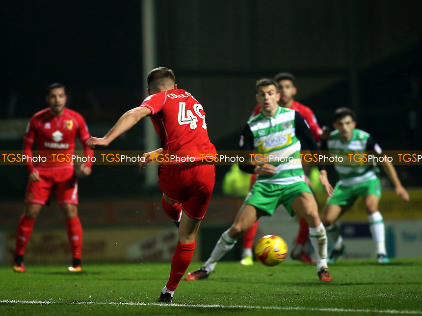 Ryan Colclough of MK Dons takes a shot at the Yeovil goal during Yeovil Town vs MK Dons, Checkatrade Trophy Football at Huish Park on 6th December 2016