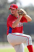 Philadelphia Phillies minor league pitcher Jesse Biddle vs. the Detroit Tigers during an Instructional League game at Tiger Town in Lakeland, Florida;  October 12, 2010.  Photo By Mike Janes/Four Seam Images