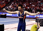20 APR 2012: Yoshi Mori of the University of Illinois celebrates after finishing the pommel horse during the Division I Men's Gymnastics Championship held at the Lloyd Noble Center on the University of Oklahoma campus in Norman, OK. The University of Illinois claimed the national championship with 358.85 points. Stephen Pingry/NCAA Photos