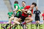 Jack Brosnan Glenbeigh Glencar in action against Aidan McGarrity Rock Saint Patricks in the Junior Football All Ireland Final in Croke Park on Sunday.