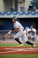 Bradenton Marauders left fielder Bligh Madris (17) follows through on a swing during a game against the Charlotte Stone Crabs on August 6, 2018 at Charlotte Sports Park in Port Charlotte, Florida.  Charlotte defeated Bradenton 2-1.  (Mike Janes/Four Seam Images)