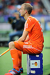 The Hague, Netherlands, June 03: Billy Bakker #8 of The Netherlands on the bench reacts to a play during the field hockey group match (Men - Group B) between The Netherlands and Korea on June 3, 2014 during the World Cup 2014 at Kyocera Stadium in The Hague, Netherlands. Final score 2:1 (1:1) (Photo by Dirk Markgraf / www.265-images.com) *** Local caption ***