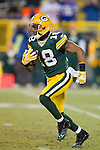 Green Bay Packers kick returner/wide receiver Randall Cobb (18) returns a kick during an NFL divisional playoff football game against the New York Giants on January 15, 2012 in Green Bay, Wisconsin. The Giants won 37-20. (AP Photo/David Stluka)