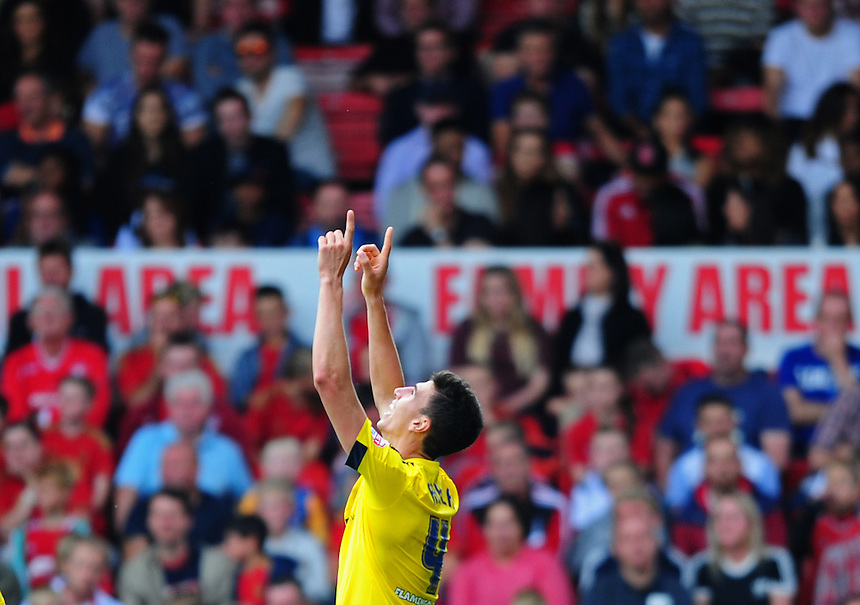 Middlesbrough's Daniel Ayala celebrates scoring his sides second goal <br /> <br /> Photographer Chris Vaughan/CameraSport<br /> <br /> Football - The Football League Sky Bet Championship - Nottingham Forest v Middlesbrough - Saturday 19th September 2015 - City Ground - Nottingham<br /> <br /> &copy; CameraSport - 43 Linden Ave. Countesthorpe. Leicester. England. LE8 5PG - Tel: +44 (0) 116 277 4147 - admin@camerasport.com - www.camerasport.com