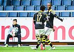 Solna 2015-04-26 Fotboll Allsvenskan AIK - &Ouml;rebro SK :  <br /> AIK:s Henok Goitom firar sitt 2-0 m&aring;l med Ebenezer Ofori under matchen mellan AIK och &Ouml;rebro SK <br /> (Foto: Kenta J&ouml;nsson) Nyckelord:  AIK Gnaget Friends Arena Allsvenskan &Ouml;rebro &Ouml;SK jubel gl&auml;dje lycka glad happy
