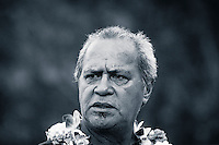"HONOLULU, Oahu, Waimea Bay - Thursday, November 28, 2012 Clyde Aikau (HAW). -- The 28th annual Quiksilver In Memory of Eddie Aikau official opening ceremony and blessing today at Waimea Bay on the North Shore of Oahu. The ceremony  featured this year's 28 Invitees, including newly elected riders John John Florence (Hawaii), Ian Walsh (Maui), and Alex Gray (California), as well as former ""Eddie"" champions Kelly Slater (Florida), Greg Long (California), and Ross Clarke-Jones (Australia). The surfers will be joined by members of the Aikau family, including Eddie's younger brother and Invitee Clyde Aikau...When the Invitees and Alternates paddled out and grouped in the traditional surfer's circle it's about camaraderie and making a connection to the others who will ultimately share in your experience and watch out for your safety..The holding period for the Quiksilver In Memory of Eddie Aikau will commence on Saturday, December 1, and runs through  to February 28, 2013. The event requires one day of quality waves in the giant range of 20 feet or more. Waves of this size are only generated occasionally by hurricane force winds from intense storms in the Pacific NW. The elements of wind, swell height and arrival time to the island's shore must be in perfect alignment to allow a full eight hours of daytime competition..Waimea Bay was Eddie Aikau's home away from home. It was here that he saved countless lives as the Bay's first official lifeguard, and successfully rode the largest waves of his day. An early pioneer of big wave riding in Hawaii, Eddie has inspired generations of ""storm surfers"" who today roam the globe year-round in search of giant waves..The Quiksilver In Memory of Eddie Aikau has only been held a total of eight (8) times, most recently on December 8, 2009. California's Greg Long (California) took the honor that year. .Photo: joliphotos.com"