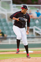 Kannapolis Intimidators starting pitcher Jefferson Olacio (40) in action against the Savannah Sand Gnats at CMC-Northeast Stadium on May 30, 2013 in Kannapolis, North Carolina. The Intimidators defeated the San Gnats 5-4 in 11 innings..   (Brian Westerholt/Four Seam Images)