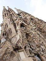 Hope and Charity hallways; bell towers, Nativity façade, La Sagrada Familia, Barcelona, Catalonia, Spain, Roman Catholic basilica, built by Antoni Gaudí (Reus 1852 ? Barcelona 1926) from 1883 to his death. Still incomplete. Picture by Manuel Cohen
