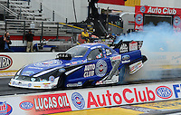 Nov. 8, 2012; Pomona, CA, USA: NHRA funny car driver Robert Hight during qualifying for the Auto Club Finals at at Auto Club Raceway at Pomona. Mandatory Credit: Mark J. Rebilas-