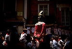 A giant is seen during the San Fermin Festival, on July 10, 2012, in Pamplona, northern Spain. The festival is a symbol of Spanish culture that attracts thousands of tourists to watch the bull runs despite heavy condemnation from animal rights groups . (c) Pedro ARMESTRE