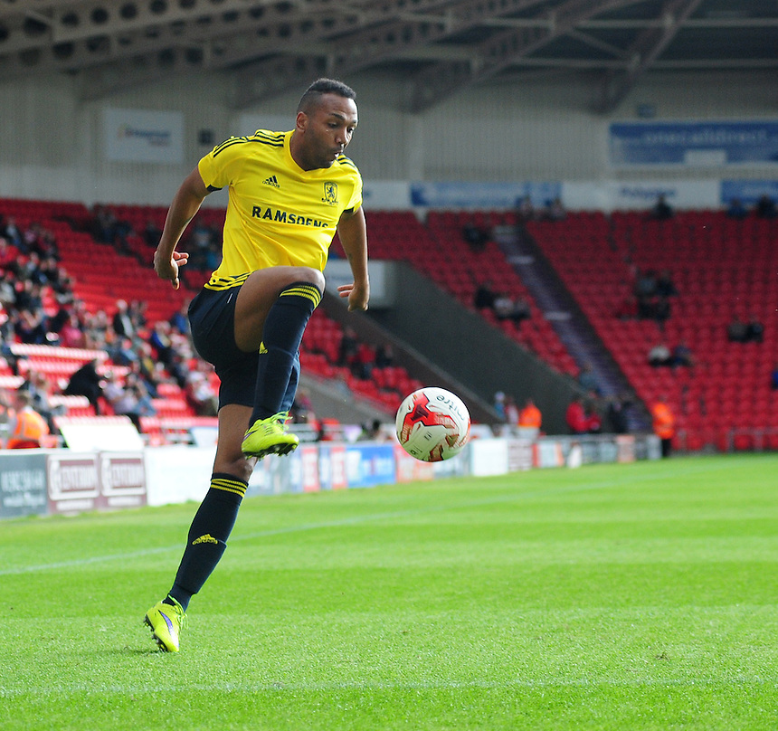 Middlesbrough's Emilio Nsue<br /> <br /> Photographer Chris Vaughan/CameraSport<br /> <br /> Football - Pre-Season Friendly - Doncaster Rovers v Middlesbrough - Saturday 25th July 2015 - Keepmoat Stadium, Doncaster<br /> <br /> &copy; CameraSport - 43 Linden Ave. Countesthorpe. Leicester. England. LE8 5PG - Tel: +44 (0) 116 277 4147 - admin@camerasport.com - www.camerasport.com