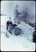 Rotary OM plowing snow - Narrows  - rail fan trip.<br /> D&amp;RGW  Chama (The Narrows), NM