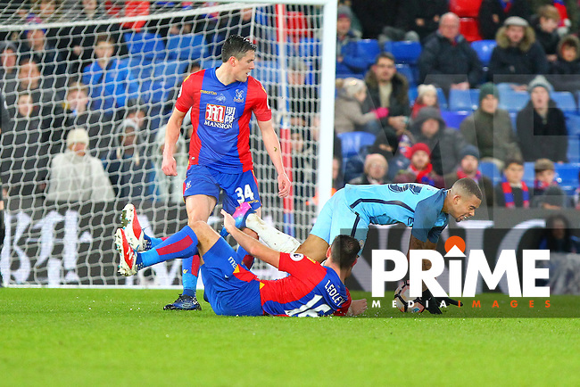 Crystal Palace's Joe Ledley fouls Gabriel Jesus of Manchester City to concede a free kick during the FA Cup fourth round match between Crystal Palace and Manchester City at Selhurst Park, London, England on 28 January 2017. Photo by PRiME Media Images / Steve McCarthy.