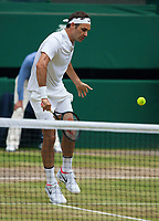 Roger Federer (SUI) in action during Mens Final match against Marin Cilic (CRO), Wimbledon Championships 2017, Day 13, Mens Final, All England Lawn Tennis & Croquet Club, Church Rd, London, United Kingdom - 16th July 2017