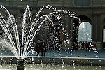 Water fountain in the courtyard of the Louvre Museum, Paris, France.