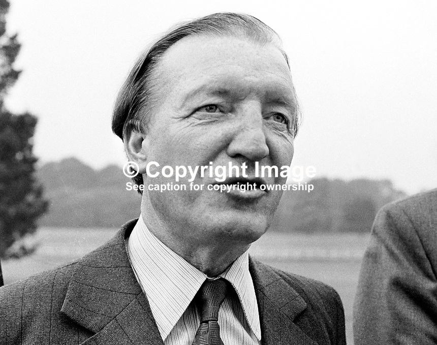Charles Haughey, Fianna Fail, TD, Minister, Health &amp; Social Services, Rep of Ireland, 218/77, 197707000218B.<br /> <br /> Copyright Image from Victor Patterson,<br /> 54 Dorchester Park, <br /> Belfast, UK, BT9 6RJ<br /> <br /> t1: +44 28 9066 1296 (from Rep of Ireland 048 9066 1296)<br /> t2: +44 28 9002 2446 (from Rep of Ireland 048 9002 2446)<br /> <br /> m: +44 7802 353836<br /> <br /> e: victorpatterson@me.com<br /> www.victorpatterson.com<br /> <br /> Please see my Terms and Conditions of Use at www.victorpatterson.com. It is IMPORTANT that you familiarise yourself with them.<br /> <br /> Images used on the Internet must be visibly watermarked i.e. &copy; Victor Patterson<br /> within the body of the image and copyright metadata must not be deleted. Images <br /> used on the Internet have a size restriction of 4kbs and will be chargeable at current<br />  NUJ rates unless agreed otherwise.<br /> <br /> This image is only available for the use of the download recipient i.e. television station, newspaper, magazine, book publisher, etc, and must not be passed on to any third <br /> party. It is also downloaded on condition that each and every usage is notified within 7 days to victorpatterson@me.com<br /> <br /> The right of Victor Patterson to be identified as the author is asserted in accordance with The Copyright Designs And Patents Act (1988). All moral rights are asserted.