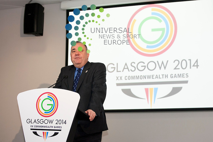 In picture: First Minister Alex Salmond. Glasgow 2014 Commonwealth Games host broadcaster was announced today. Sunset+Vine and Global Television are named as having secured the contract. The First Minister, Alex Salmond, and Scottish International badminton player Caitlin Pringle take part in a mock studio event. Commonwealth House, Glasgow. 5th July 2012. Picture: Jonathan Faulds / Universal News And Sport (Europe)