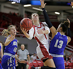 "VERMILLION, SD: JANUARY 13:  Claudia Kunzer #1 of South Dakota shoots between Ft. Wayne defender Hannah Albrecht #10 and De""Jour Young #13 during their Summit League game Saturday January 13 at the Sanford Coyote Sports Center in Vermillion, S.D.   (Photo by Dick Carlson/Inertia)"