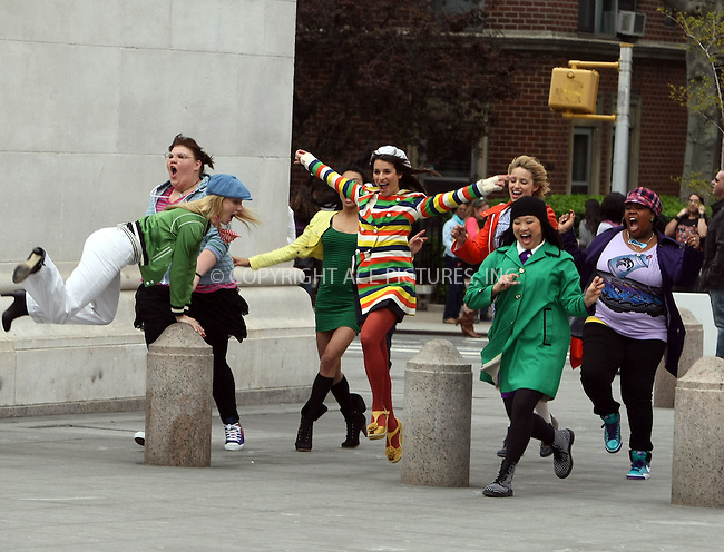 """WWW.ACEPIXS.COM . . . . .  ....April 29 2011, New York City....The cast of the hit TV show """"Glee"""" filmed a scene in Washington Square Park on April 29 2011 in New York City....Please byline: PHILIP VAUGHAN - ACE PICTURES.... *** ***..Ace Pictures, Inc:  ..Philip Vaughan (212) 243-8787 or (646) 679 0430..e-mail: info@acepixs.com..web: http://www.acepixs.com"""