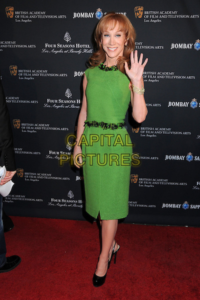 KATHY GRIFFIN .17th Annual BAFTA Los Angeles Awards Season Tea Party held at the Four Seasons Hotel, Beverly Hills, California, USA, 15th January 2011..full length green dress hand  waving  belt shoes black platform sleeveless .CAP/ADM/BP.©Byron Purvis/AdMedia/Capital Pictures.