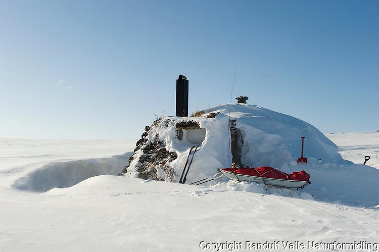 Gamme på Laksefjordvidda. ---- Traditional hut at Laksefjordvidda.