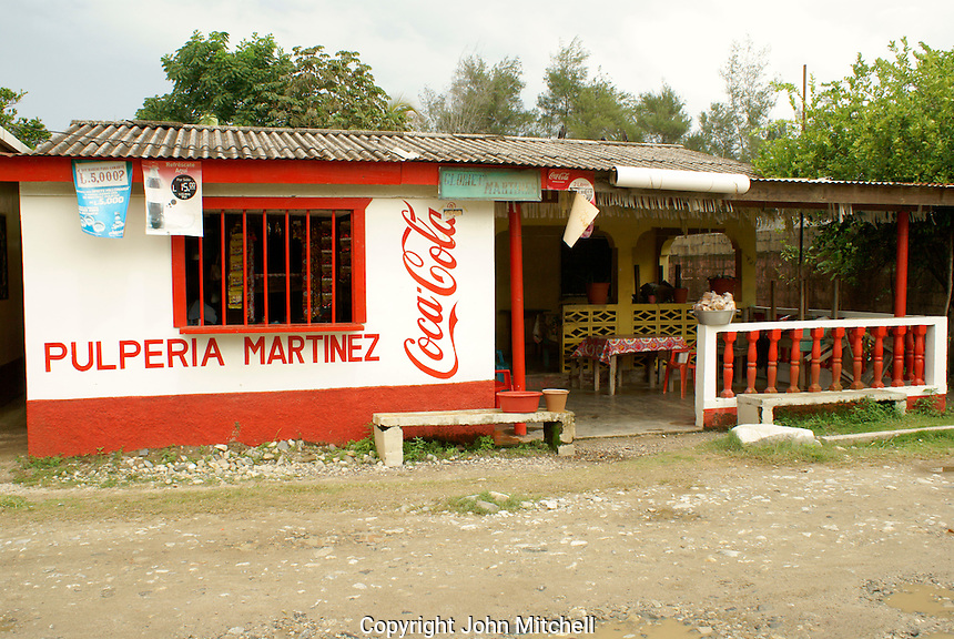 Pulperia or general store in the Garifuna village of Triunfo de la Cruz, Honduras....