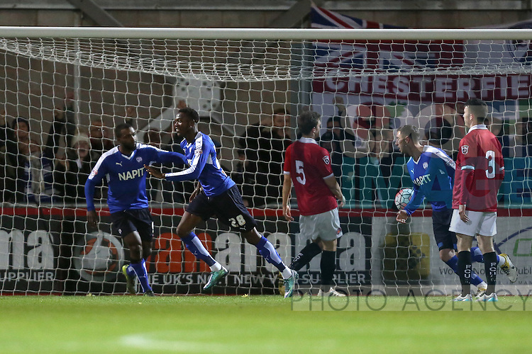 Chesterfield's Gboly Ariyibi celebrates his opening goal - FC United vs Chesterfield - The Emirates FA Cup - Broadhurst Park - Manchester - 09/11/2015 Pic Philip Oldham/SportImage