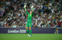 London, England - Thursday, August 9, 2012: The USA defeated Japan 2-1 to win the London 2012 Olympic gold medal at Wembley Arena. Hope Solo celebrates. .