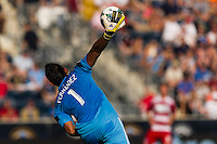 FC Dallas goalkeeper Raul Fernandez (1). The Philadelphia Union and FC Dallas played to a 2-2 tie during a Major League Soccer (MLS) match at PPL Park in Chester, PA, on June 29, 2013.