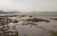 The city skyline in mist rocks in the foreground and men fishing from the rocks., on the riverside seaside walk along the river Rio de la Plata Ramblas Sur, Gran Bretagna and Republica Argentina Montevideo, Uruguay, South America