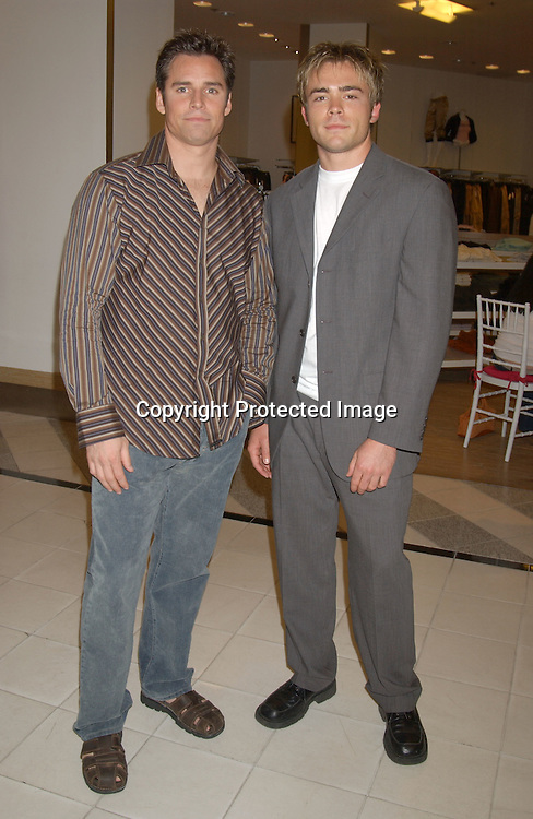 ..Dan Gauthier and John-Paul Lavoisier of One LIfe to Live..at the Saks Fifth Avenue's Key to the Cure Celebrity Launch on September 17, 2003 in New York City. ..Photo By Robin Platzer, Twin Images