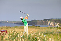 Alex Gleeson (IRL) on the 15th tee during the Afternoon Singles between Ireland and Wales at the Home Internationals at Royal Portrush Golf Club on Thursday 13th August 2015.<br /> Picture:  Thos Caffrey / www.golffile.ie