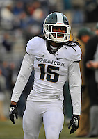 29 November 2014:  Michigan State CB Trae Waynes (15). The Michigan State Spartans defeated the Penn State Nittany Lions 34-10 at Beaver Stadium in State College, PA.