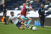 Preston North End's Calum Woods battles with Burnley's Johann Berg Gudmundsson<br /> <br /> Photographer Mick Walker/CameraSport<br /> <br /> Football Pre-Season Friendly - Preston North End  v Burnley FC  - Monday 23st July 2018 - Deepdale  - Preston<br /> <br /> World Copyright &copy; 2018 CameraSport. All rights reserved. 43 Linden Ave. Countesthorpe. Leicester. England. LE8 5PG - Tel: +44 (0) 116 277 4147 - admin@camerasport.com - www.camerasport.com