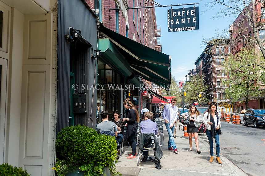 New York, NY 30 April 2014 - Caffe Dante, one of the few remaining Bohemian style MacDougal Street Coffee Houses,.
