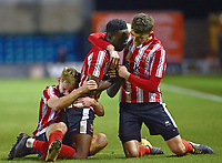 Lincoln City U18's Jordan Adebayo-Smith celebrates scoring his side's second goal with team-mates<br /> <br /> Photographer Andrew Vaughan/CameraSport<br /> <br /> The FA Youth Cup Second Round - Lincoln City U18 v South Shields U18 - Tuesday 13th November 2018 - Sincil Bank - Lincoln<br />  <br /> World Copyright © 2018 CameraSport. All rights reserved. 43 Linden Ave. Countesthorpe. Leicester. England. LE8 5PG - Tel: +44 (0) 116 277 4147 - admin@camerasport.com - www.camerasport.com