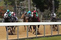 HOT SPRINGS, AR - MARCH 18: Warrior's Club #3, ridden by Javier Castellano leading the horses down the track in the 2nd race at Oaklawn Park on March 18, 2017 in Hot Springs, Arkansas. (Photo by Justin Manning/Eclipse Sportswire/Getty Images)