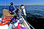 Kathy Hough Taking Water Sample, Sue Lynn Konopka-Reif Driving Boat