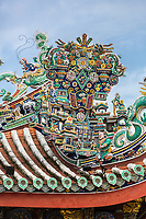 George Town, Penang, Malaysia.   Roof Decoration, Khoo Kongsi, a Hokkien Chinese Temple and Clan House.