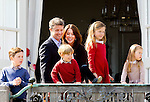 16-04-2014 Balcony 74th birthday of the Danish Queen at Marselisborg Castle in Aarhus.<br /> Prince Frederik and Princess Mary and Prince Christian and Princess Isabella and Prince Vincent and Princess Josephine.<br /><br /> <br /> <br /> Credit: PPE/face to face<br /> - No Rights for Netherlands -