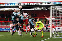 Jason McCarthy of Wycombe Wanderers wins a header during the Sky Bet League 2 match between Stevenage and Wycombe Wanderers at the Lamex Stadium, Stevenage, England on 17 October 2015. Photo by PRiME Media Images.