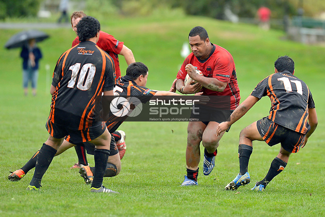 Rugby League, Stoke Cobras v Tahunanuia Tigers, Lower Ngawhatu, 20th April 2013, Nelson, New Zealand, Photo: Barry Whitnall, shuttersport.co.nz
