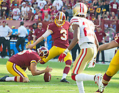 Washington Redskins kicker Dustin Hopkins (3) kicks a fourth quarter field goal, against the San Francisco 49ers at FedEx Field in Landover, Maryland on Sunday, October 15, 2017.  The Redskins won the game 26 - 24.<br /> Credit: Ron Sachs / CNP