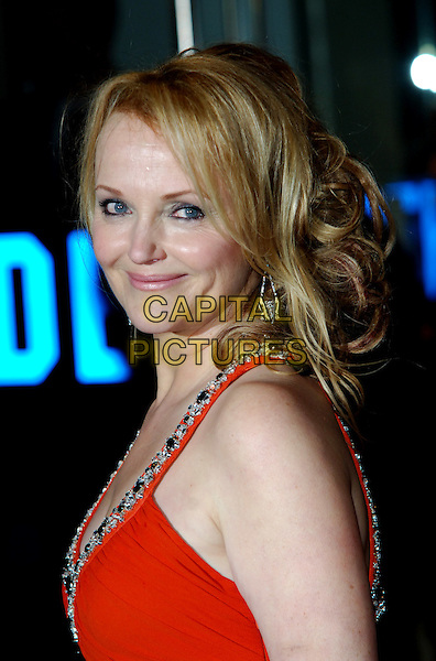 "MIRANDA RICHARDSON.The World Premiere of ""The Young Victoria"" at the Odeon Leicester Square, London, England..March 3rd 2009.headshot portrait orange red side beaded beads jewelled neckline straps jewel encrusted.CAP/CJ.©Chris Joseph/Capital Pictures."