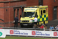 An ambulance arrives to attend a medical emergency during Lancashire CCC vs Essex CCC, Specsavers County Championship Division 1 Cricket at Emirates Old Trafford on 11th June 2018