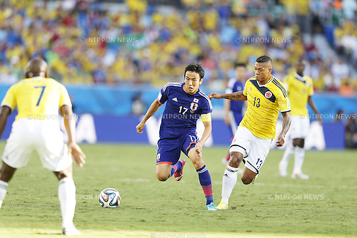 Makoto Hasebe (JPN), Fredy Guarin (COL), JUNE 24, 2014 - Football / Soccer : FIFA World Cup Brazil 2014 Group C match between Japan 1-4 Colombia at the Arena Pantanal in Cuiaba, Brazil. (Photo by AFLO)