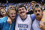 18 November 2015: UNC fans wear mustaches for Movember. The University of North Carolina Tar Heels hosted the Wofford College Terriers at the Dean E. Smith Center in Chapel Hill, North Carolina in a 2015-16 NCAA Division I Men's Basketball game. UNC won the game 78-58.